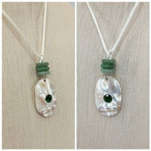 """Shell pendant with spacer beads on silk cord,18"""""""